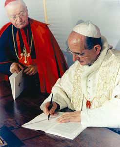 Paul VI signant Populorum progression
